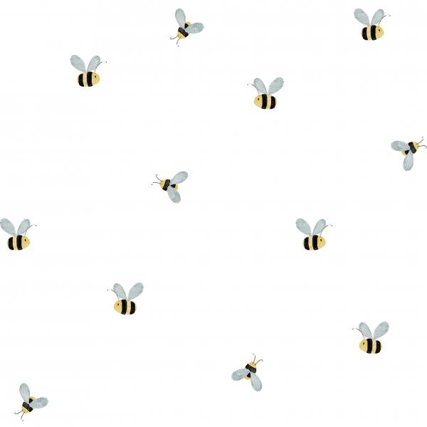 Honigbienen Weiß French Terry 0,5 m