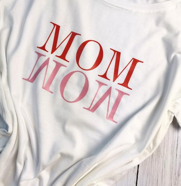 Weißes MOM Shirt Rot/Rosa Gr. L