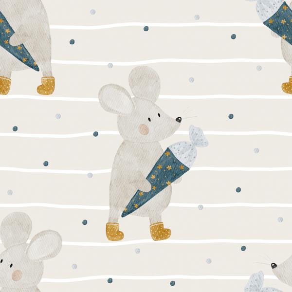 Schulstart Maus beige Jersey 0,5 m