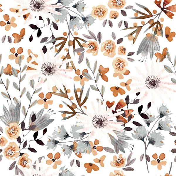 Herbst Blumen Rost Jersey 0,5 m