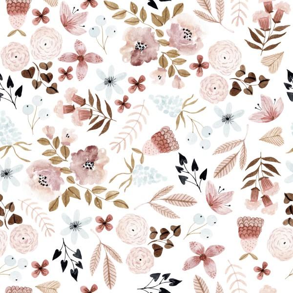 Pastell Blumen Rose Jersey 0,5 m