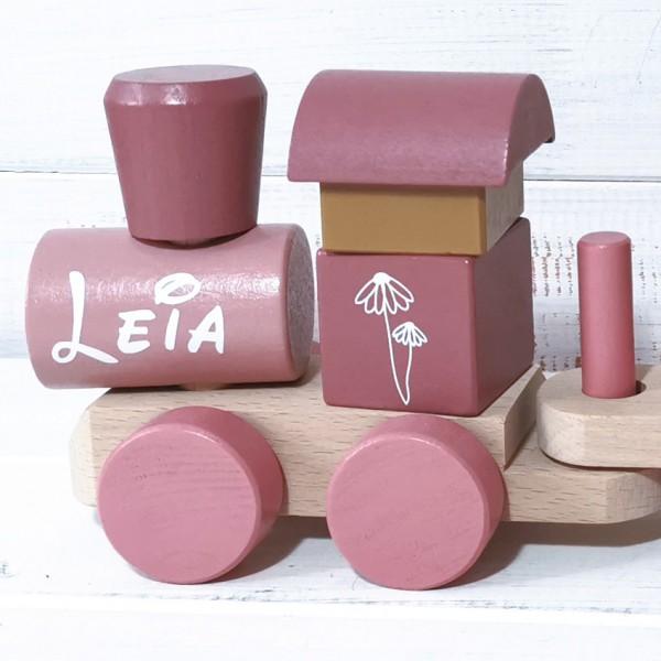 Personalisierter Holz-Spielzeug-Zug Rosa