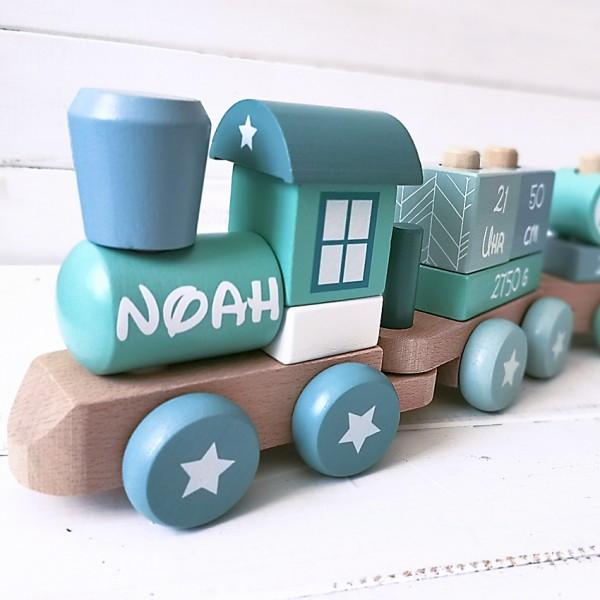 Personalisierter Holz-Spielzeug-Zug Blau/Türkis