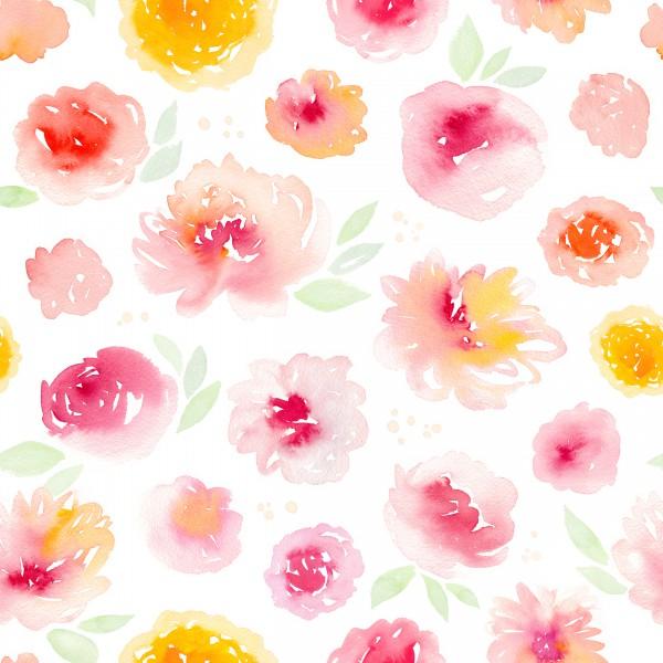 Aquarell Blumen Jersey 0,5 m