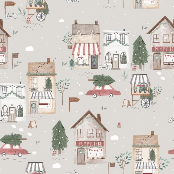 Christmas Shopping Grau French Terry 0,5 m