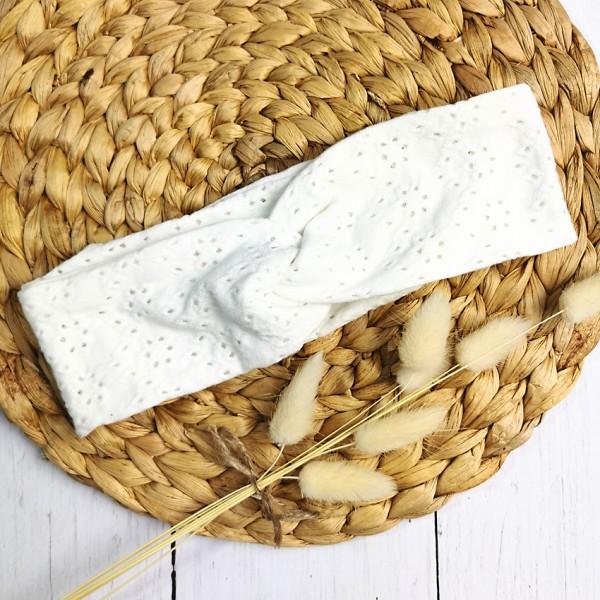 Haarband Damen weiße Lochstickerei