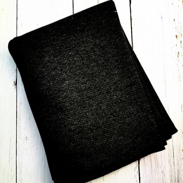 Waffel Jersey Schwarz 0,5 m