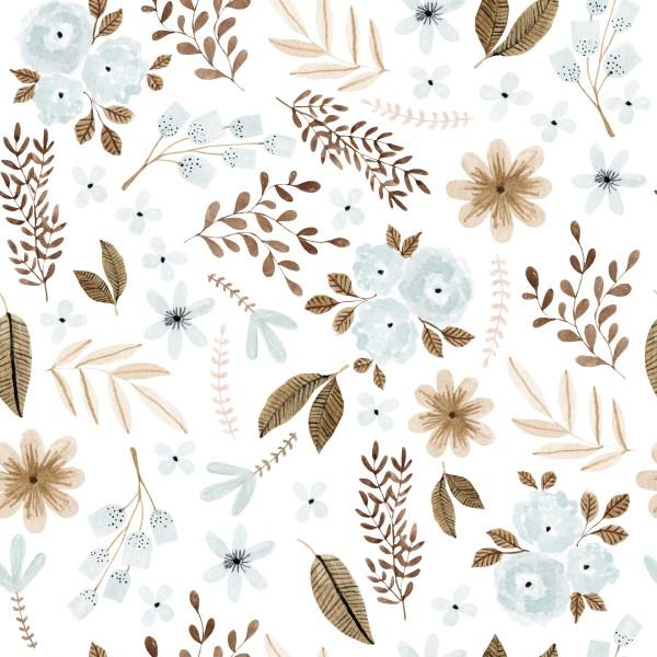 Pastell Blumen Blue Jersey 0,5 m